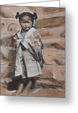 Little Hopi Girl Greeting Card by Terri Ana Stokes
