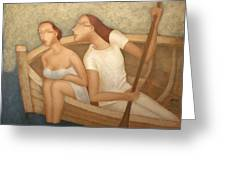 Pair In A Boat  Greeting Card by Nicolay  Reznichenko