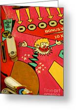 Pinball Machine Greeting Card by Bernard Jaubert