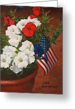 Potted Petunias Greeting Card by Luci Lesmerises