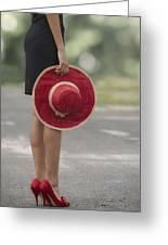 Red Sun Hat Greeting Card by Joana Kruse