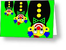 3 Russian Clown Dolls Stand On The Head For You Greeting Card by Asbjorn Lonvig