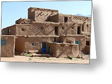 Taos Pueblo Greeting Card by Christiane Schulze Art And Photography