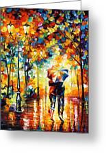 Under One Umbrella Greeting Card by Leonid Afremov