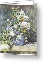 Vase Of Flowers Greeting Card by Pierre-Auguste Renoir