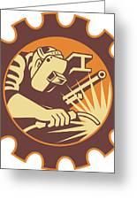 Welder Worker Welding Torch Retro Greeting Card by Aloysius Patrimonio