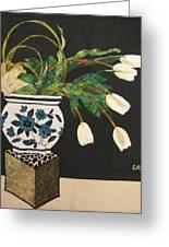 White Tulips Greeting Card by Lynda K Boardman