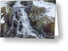 Winter Waterfall Greeting Card by David Birchall