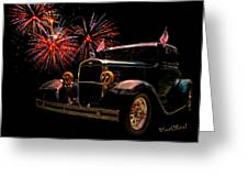 31 Five Window Coupe On The Fourth Of July Greeting Card by Chas Sinklier