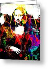 31x48 Mona Lisa Screwed - Huge Signed Art Abstract Paintings Modern Www.splashyartist.com Greeting Card by Robert R Abstract Paintings