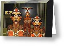 338 - Aliens With Egyptian Touch Greeting Card by Irmgard Schoendorf Welch