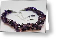 3607 Multi Strand Adjustable Amethyst Necklace Greeting Card by Teresa Mucha