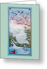 380  Whistling Angel And Birds Greeting Card by Sigrid Tune