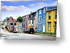 Colorful Houses In St. John's Greeting Card by Elena Elisseeva