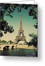 Eiffel Tower And Bridge On Seine River In Paris Greeting Card by Michal Bednarek