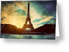 Eiffel Tower In Paris Fance In Retro Style Greeting Card by Michal Bednarek