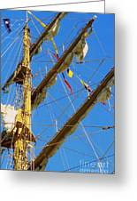 I Thought I Saw Three Sailing Ships Three Sailing Ships Early In The Morn N Greeting Card by Michael Hoard