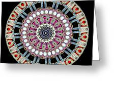 Kaleidoscope Colorful Jeweled Rhinestones Greeting Card by Amy Cicconi