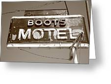 Route 66 - Boots Motel Greeting Card by Frank Romeo