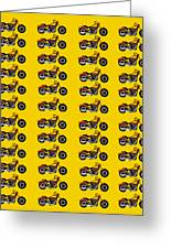 48 Harlies On Dark Yellow Greeting Card by Asbjorn Lonvig