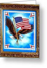 48 Star Usa Flag And Eagle. Glory And Victory Greeting Card by Sofia Metal Queen