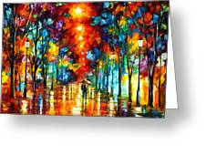Night Park Greeting Card by Leonid Afremov