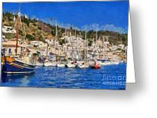 Poros Island Greeting Card by George Atsametakis