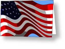 50 Star American Flag Closeup Abstract 6 Greeting Card by L Brown