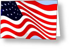 50 Star American Flag Closeup Abstract 8 Greeting Card by L Brown