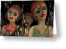 562 - Three Young Girls   Greeting Card by Irmgard Schoendorf Welch