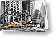 5th Avenue Yellow Cab Greeting Card by John Farnan