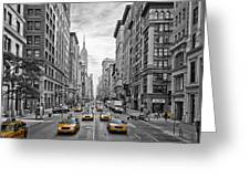5th Avenue Yellow Cabs - NYC Greeting Card by Melanie Viola