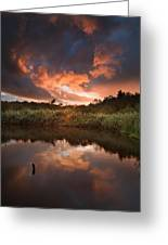 Beautiful Sunset Over Autumn Fall Lake With Crystal Clear Reflec Greeting Card by Matthew Gibson