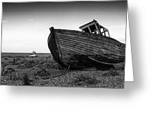 Stunning Black And White Image Of Abandoned Boat On Shingle Beac Greeting Card by Matthew Gibson