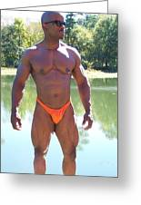 Male Muscle Art Greeting Card by Jake Hartz