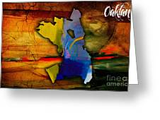 Oakland Map And Skyline Watercolor Greeting Card by Marvin Blaine