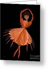7 Orange Ballerina Greeting Card by Andee Design