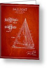 Sailboat Patent Drawing From 1938 Greeting Card by Aged Pixel