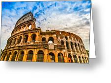 The Majestic Coliseum - Rome Greeting Card by Luciano Mortula