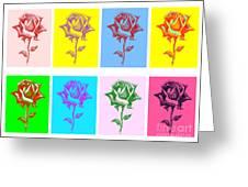 8 Warhol Roses By Punt Greeting Card by Gordon Punt