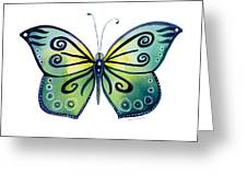 92 Teal Button Cap Butterfly Greeting Card by Amy Kirkpatrick