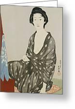 A Beauty In A Black Kimono Greeting Card by Hashiguchi