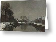 A Belgian Town In Winter Greeting Card by Albert Baertsoen