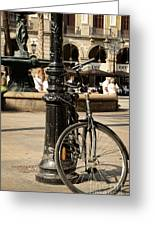 A Bicycle At Plaza Real Greeting Card by RicardMN Photography