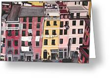 A Bird's Eye View Of Cinque Terre Greeting Card by Quin Sweetman