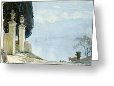 A Blue Day On Como Greeting Card by Joseph Walter West