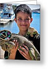 A Boy And His Iguanas Greeting Card by Amy Fearn
