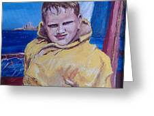 A Boy on a Boat Greeting Card by Jack Skinner