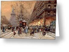 A Busy Boulevard near the Place de la Republique Paris Greeting Card by Eugene Galien-Laloue