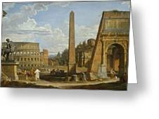 A Capriccio View Of Roman Ruins, 1737 Greeting Card by Giovanni Paolo Pannini or Panini